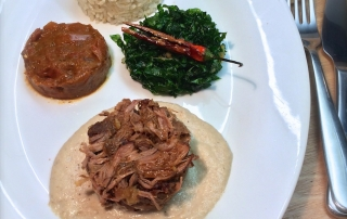Pulled Tandoor Lamb with Coconut Basmati Rice, Fried Spinach, Cashew Nut Sauce and Spicy Tomato & Tandoori Chutney