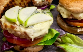 Rabbit Burger with Gorgonzola and Apple
